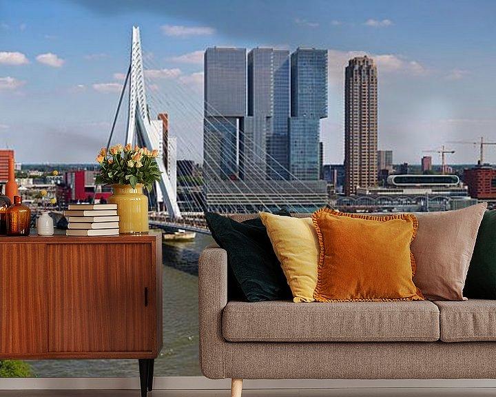 Sfeerimpressie behang: Panorama Kop van Zuid Rotterdam van Anton de Zeeuw