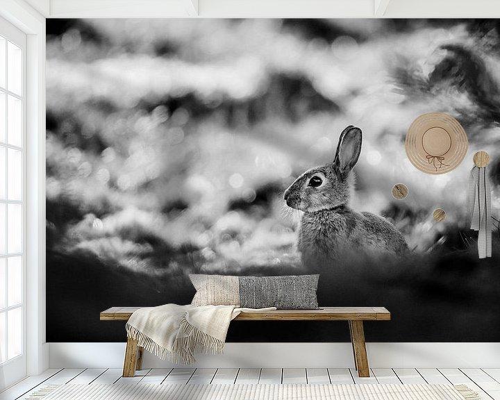 Sfeerimpressie behang: B & W Konijn van Pim Leijen