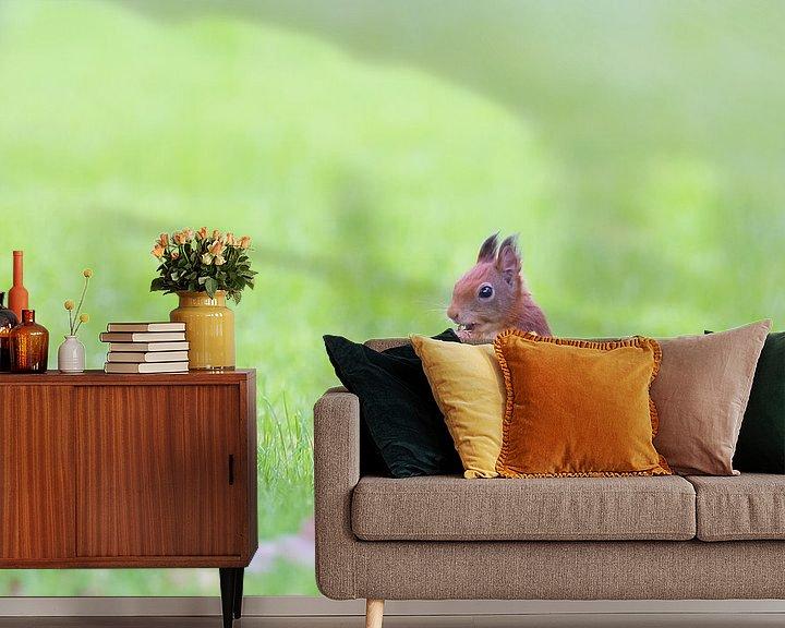 Sfeerimpressie behang: eekhoorntje met vlag van Kris Hermans