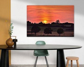 Kleurrijke zonsondergang op een prachtig Limburgs landschap van Maarten Honinx