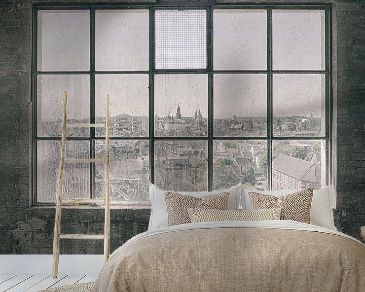 Sfeerimpressie behang: Verlaten plekken: Sphinx fabriek Maastricht uitzicht van Olaf Kramer