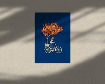 The biker and the tree van Rene Hamann