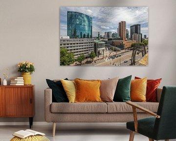 Het uitzicht op WTC Rotterdam, Koopgoot en Coolsingel in Rotterdam van MS Fotografie   Marc van der Stelt