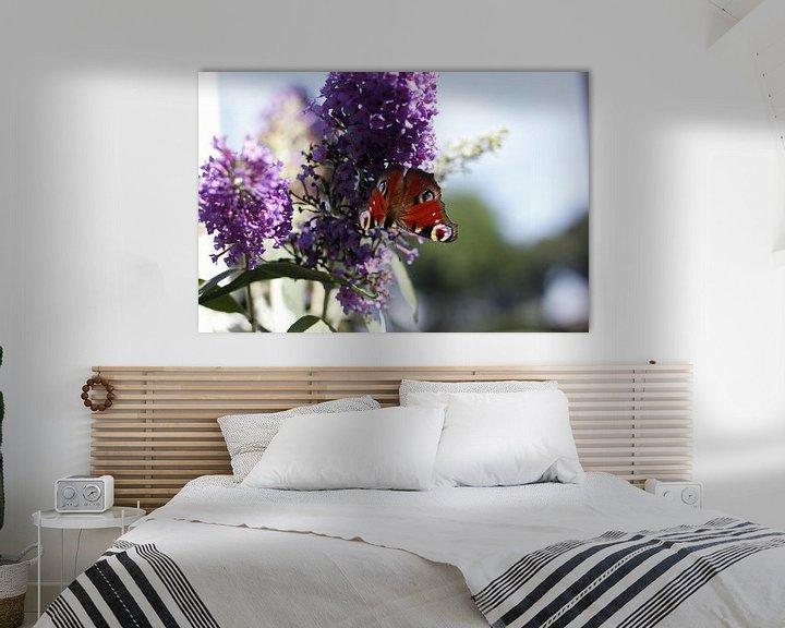 Sfeerimpressie: Vlinder op paarse bloem van Erik Koks
