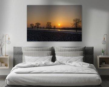 Megen aan de Maas bij zonsondergang van Kaj Hendriks