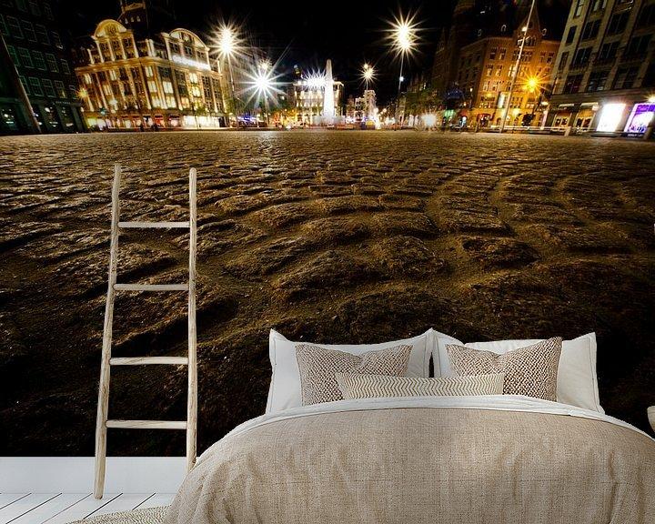 Sfeerimpressie behang: de dam bij nacht van Thomas Spaans
