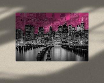 MANHATTAN Skyline | Graphic Art | pink von Melanie Viola
