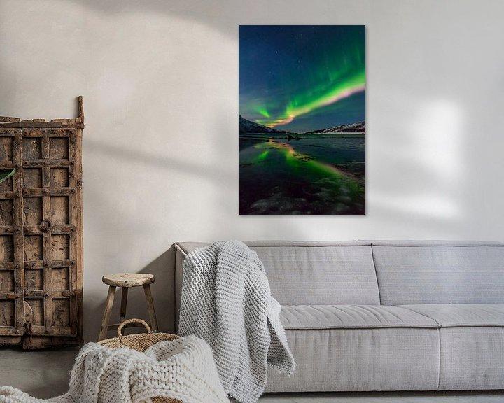 Sfeerimpressie: Poollicht of Noorderlicht in de nacht boven Noord-Noorwegen van Sjoerd van der Wal