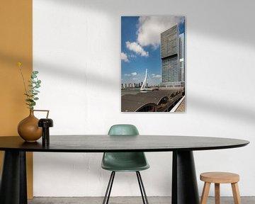 Die Rotterdam und die Erasmusbrücke (vertikal) von John Verbruggen