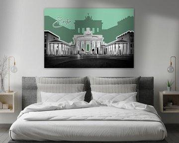 BERLIN Brandenburg Gate | Graphic Art | grün von Melanie Viola