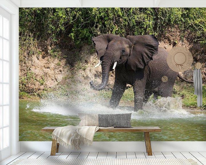 Sfeerimpressie behang: Olifant van Jim van Iterson