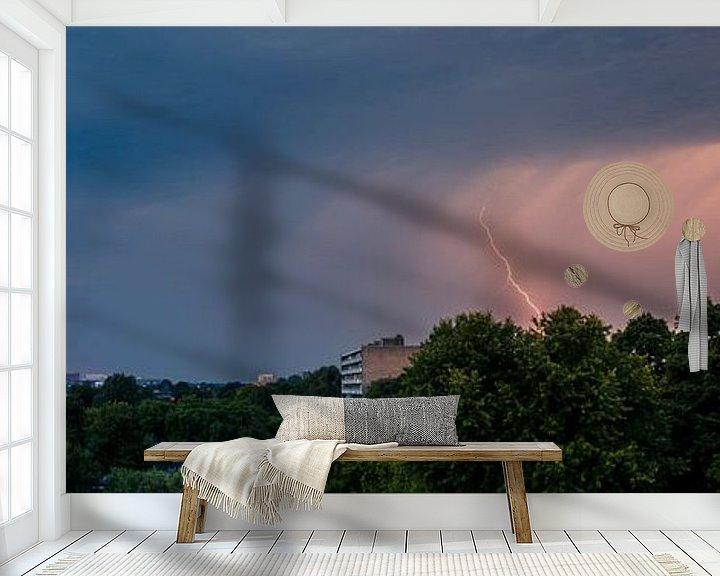 Sfeerimpressie behang: Panorama bliksem van Vincent van den Hurk