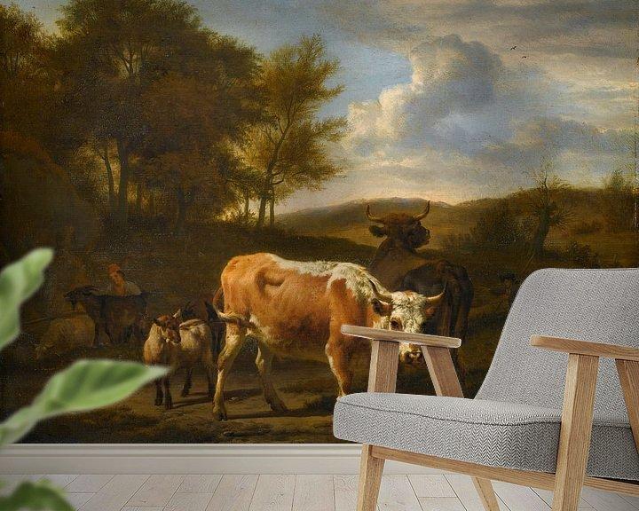 Beispiel fototapete: Hügellandschaft mit Vieh, Adriaen van de Velde