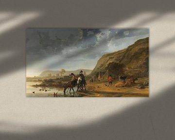 Flusslandschaft mit Reitern, Aelbert Cuyp
