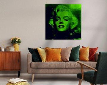 Marilyn Monroe Neon Gift Green Colourful Pop Art PUR von Felix von Altersheim