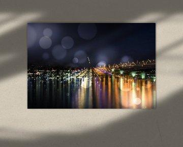 Bonn bei Nacht am Rhein - Bonn at night on the Rhine von Dagmar Marina
