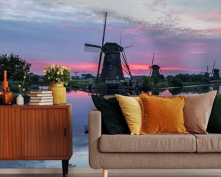 Sfeerimpressie behang: Zonsondergang Kinderdijk van Mark den Boer
