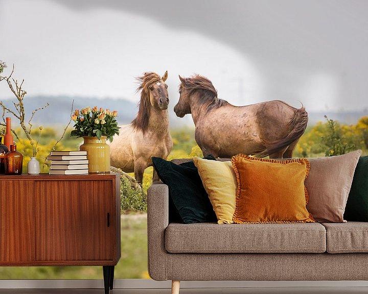 Sfeerimpressie behang: Twee konikpaarden van Pim Leijen