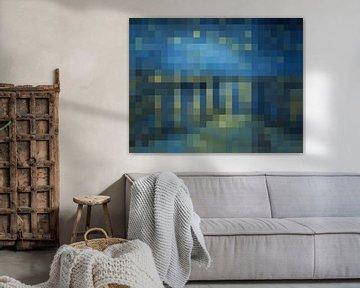 Pixel Kunst: Stern Nacht über der Rhône von JC De Lanaye