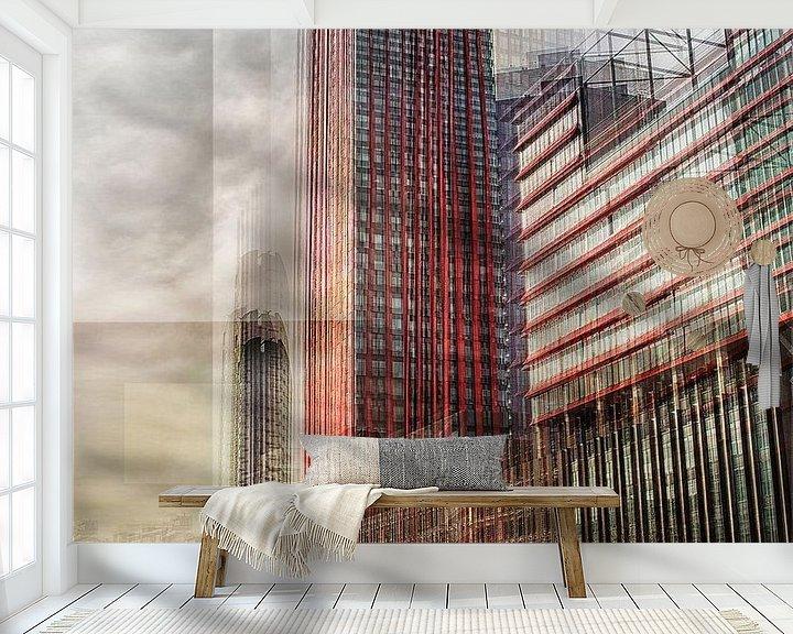 Sfeerimpressie behang: Modern Rotterdam in verticaal beweging van Jerome Coppo