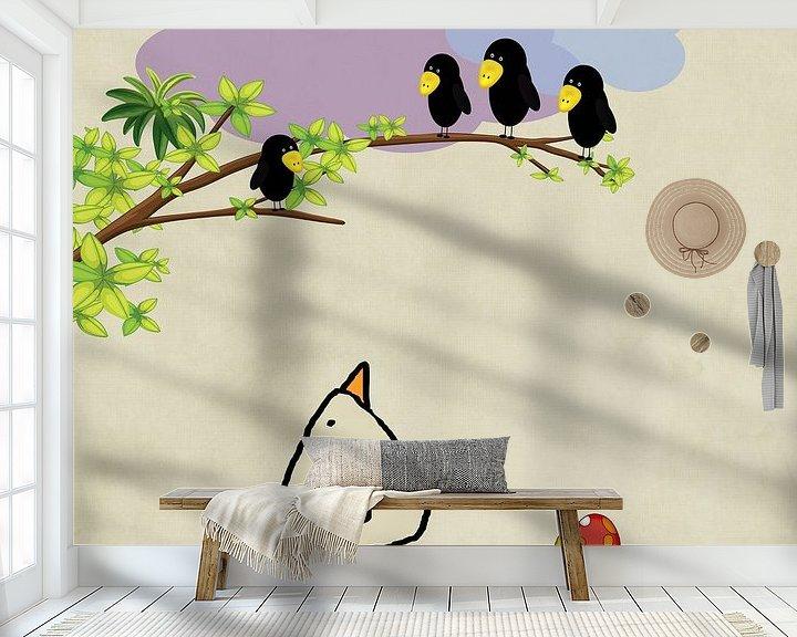 Beispiel fototapete: Rabenbaum-Piepvogel von Marion Tenbergen