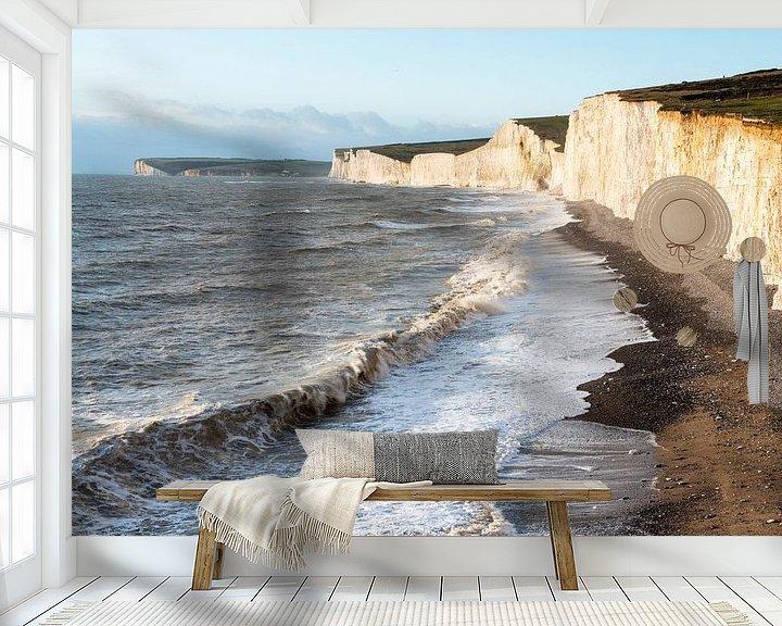 Sfeerimpressie behang: De Engelse kustlijn met de Seven Sisters, zeven tegen elkaar aan liggende krijtrotsen van Nature in Stock