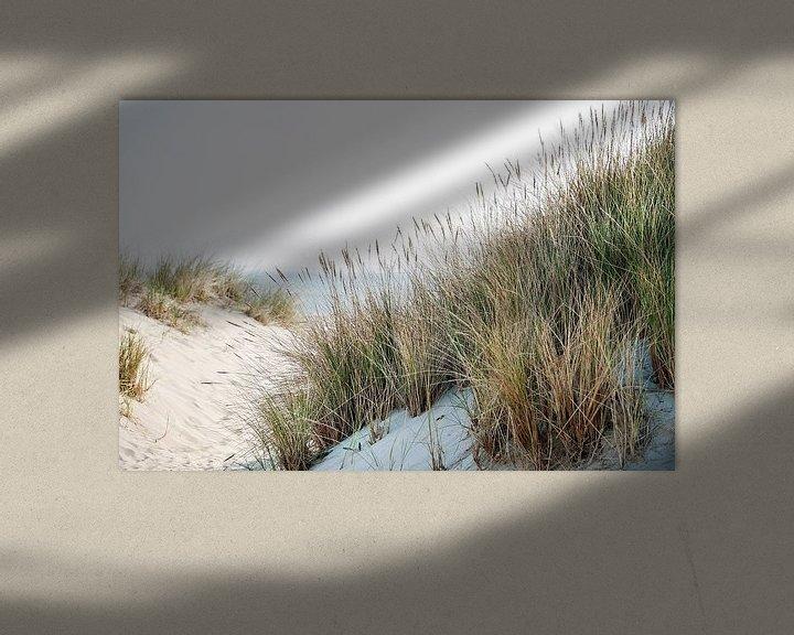 Impression: Dunes avec herbe plage et vue sur la mer sur Anouschka Hendriks