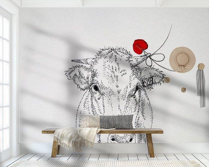 Sfeerimpressie behang: HeartFlow Koe 1 van Helma van der Zwan