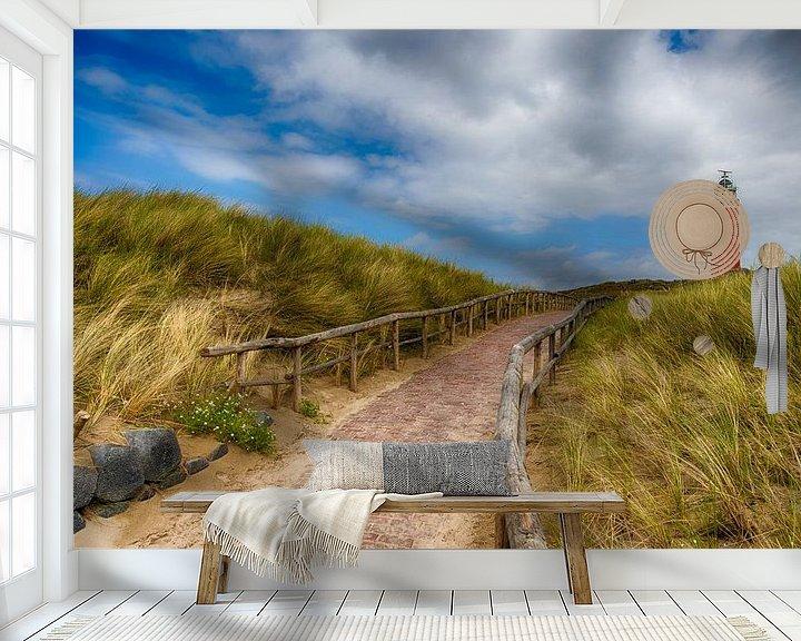 Sfeerimpressie behang: Vuurtoren Texel van Patrick van Oostrom