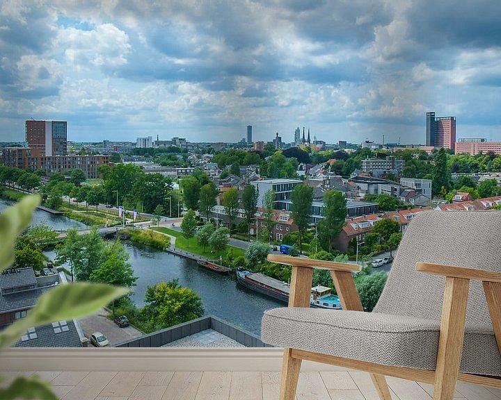 Sfeerimpressie behang: Havenbeeld: Skyline van Tilburg gezien vanuit grote hoogte van Freddie de Roeck