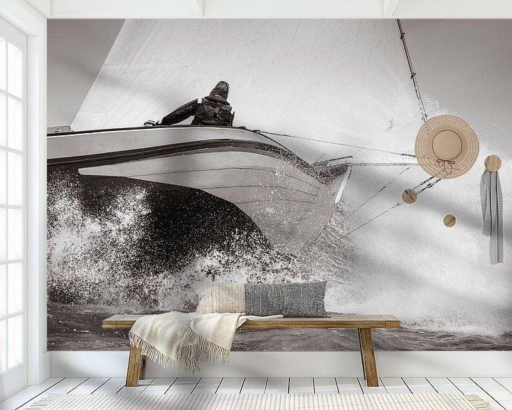 Sfeerimpressie behang: Skûtsje de Striidber op IJsselmeer van ThomasVaer Tom Coehoorn