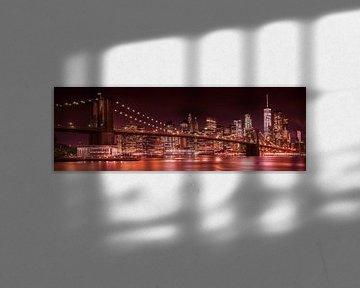 MANHATTAN & BROOKLYN avond Impressions | panorama van Melanie Viola