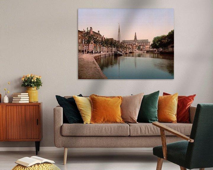 Sfeerimpressie: Turfmarkt en Spaarne, Haarlem van Vintage Afbeeldingen