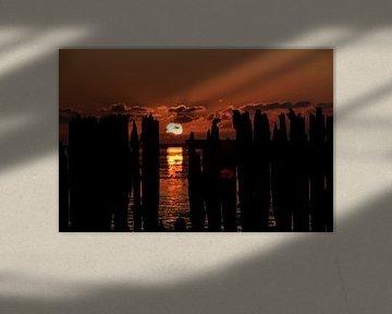 Zonsondergang bij Paesens Moddergat van Lisanne Bosch