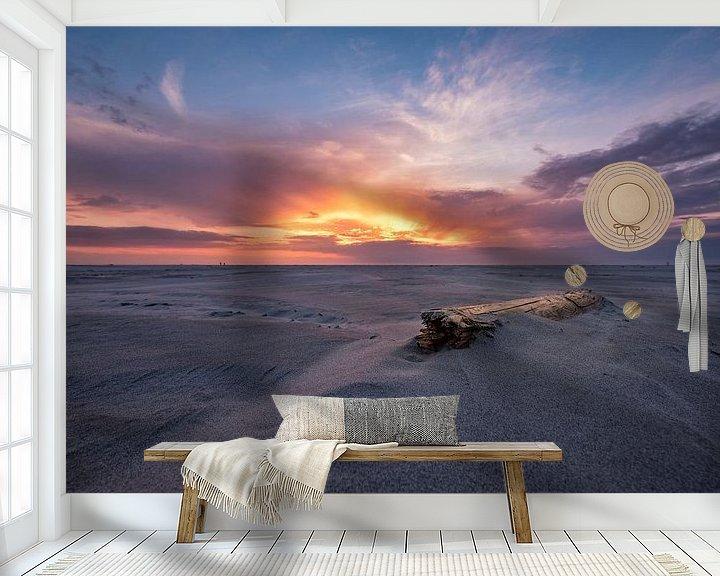 Sfeerimpressie behang: Zonsondergang Schiermonnikoog van Edwin van Wijk
