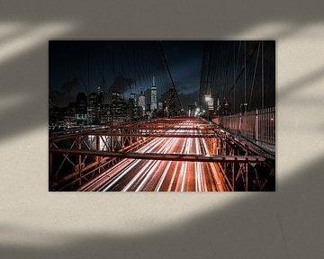 Night Lights on Brooklyn Bridge, New York City