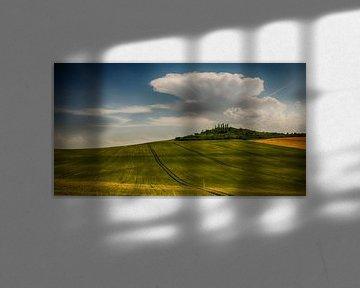 Glooiende velden in de Auvergne