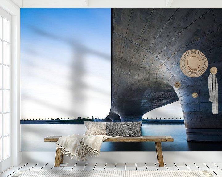 Sfeerimpressie behang: Waalbrug bij Nijmegen van Maerten Prins