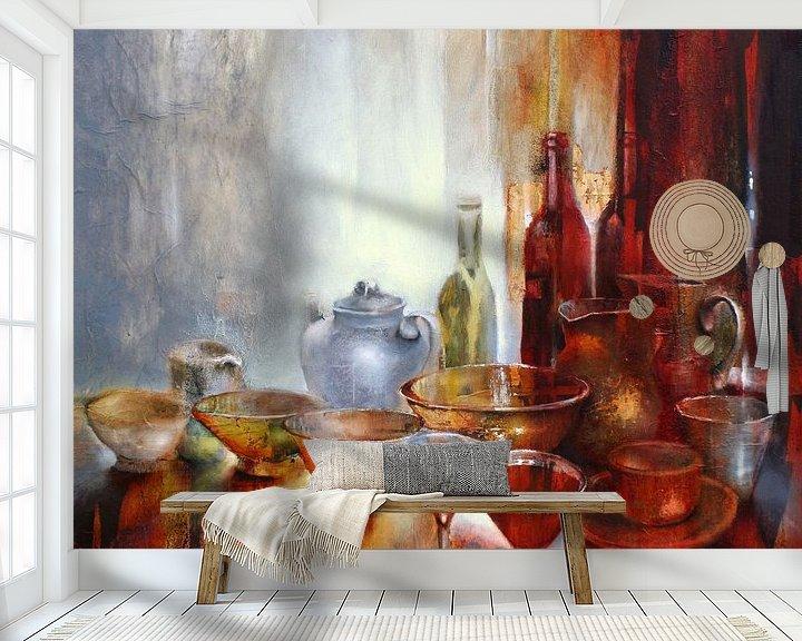 Beispiel fototapete: Stillleben mit grauer Teekanne von Annette Schmucker