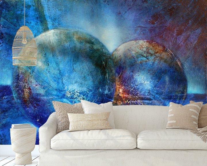 Beispiel fototapete: Zwei blaue Murmeln von Annette Schmucker