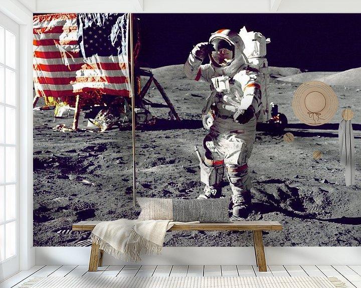 Sfeerimpressie behang: Eerste man op de maan, 1969 van Moondancer .