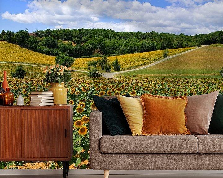 Sfeerimpressie behang: Zonnebloemen van Gerard Oonk