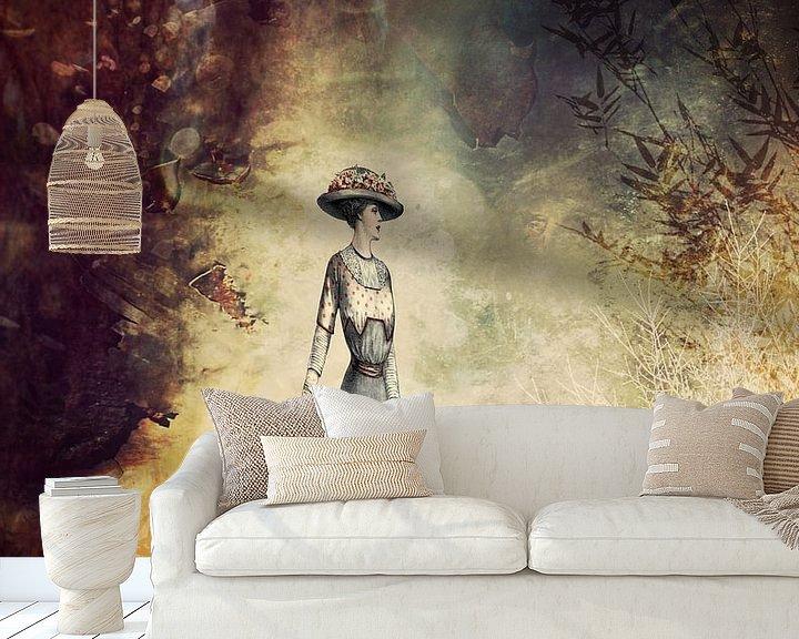 Beispiel fototapete: VINTAGE FASHION LADY IN ABSTRACT FOREST von Pia Schneider