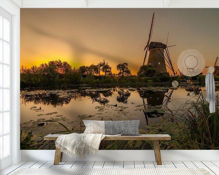 Sfeerimpressie behang: Gouden Kinderdijk Pano van Marc Smits