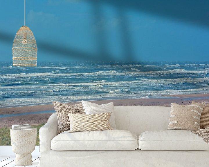 Sfeerimpressie behang: Egmond aan Zee -duinen, strand, zee en lucht. van Ronald Smits