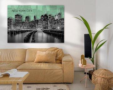MANHATTAN Skyline | Graphic Art | grün von Melanie Viola