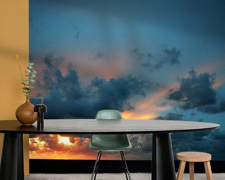 Sfeerimpressie behang: Zonsondergang bij Roptazijl van Jetty Boterhoek