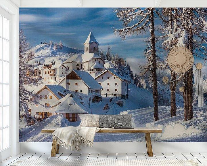 Sfeerimpressie behang: Italie winter landschap. van Giovanni della Primavera