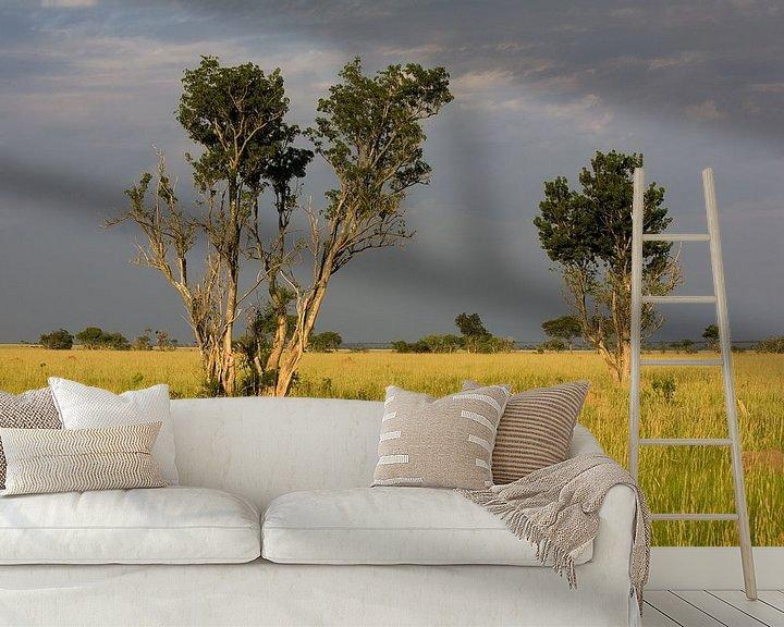 Sfeerimpressie behang: Donkere wolken boven de savanne van Jim van Iterson