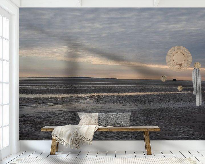 Sfeerimpressie behang: Schemer op het wad van Jim van Iterson